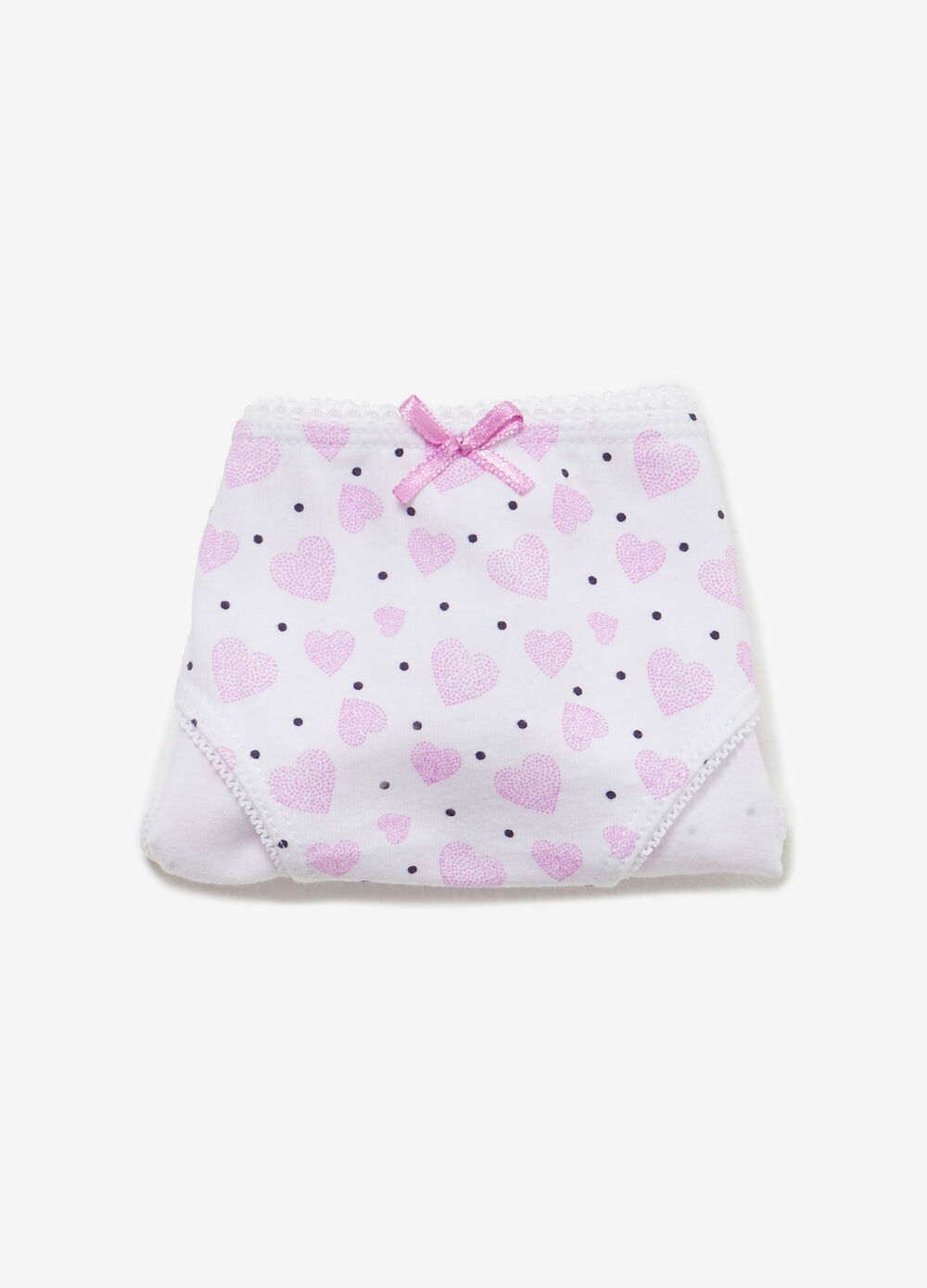 Polka dot and heart briefs in stretch cotton