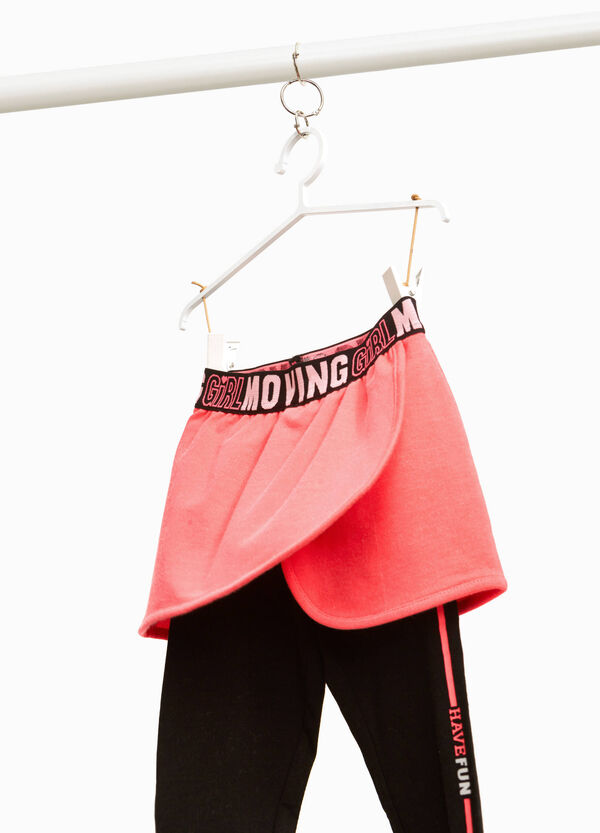 Leggings with skirt and lettering print