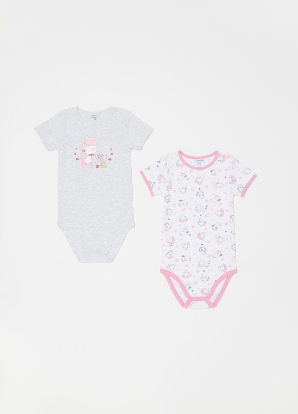 Two-pack patterned and printed bodysuits in biocotton