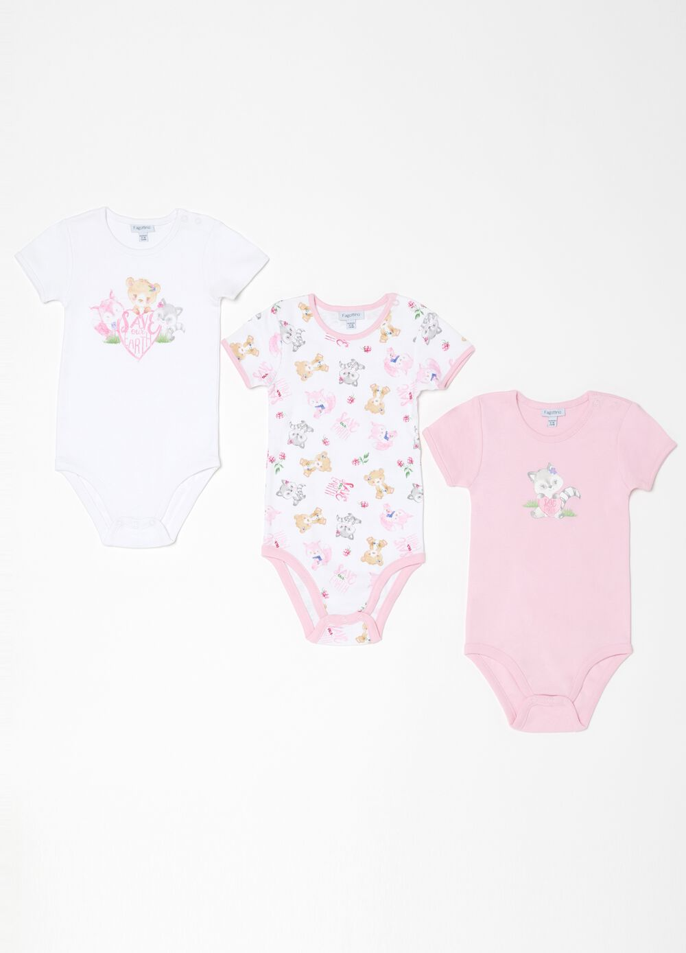 Three-pack bodysuits in 100% organic cotton with animals