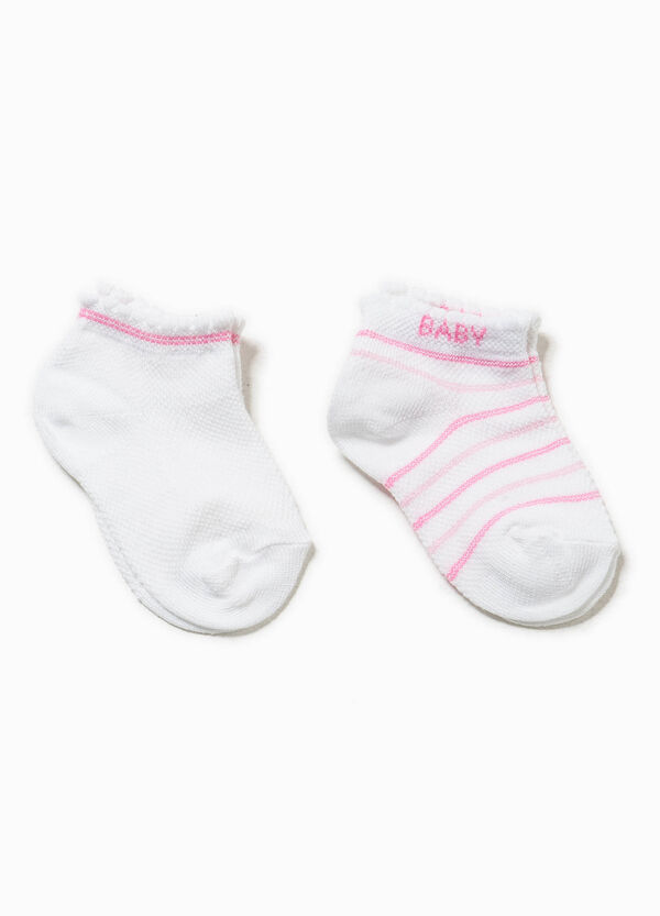 Two-pair pack striped and solid colour socks