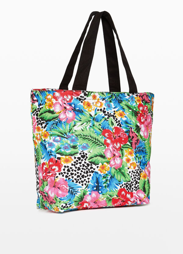 Floral patterned cotton shopping bag
