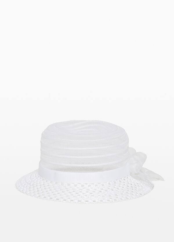 Braided hat with wide brim and mesh