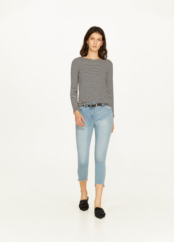 Faded-effect, skinny-fit crop jeans