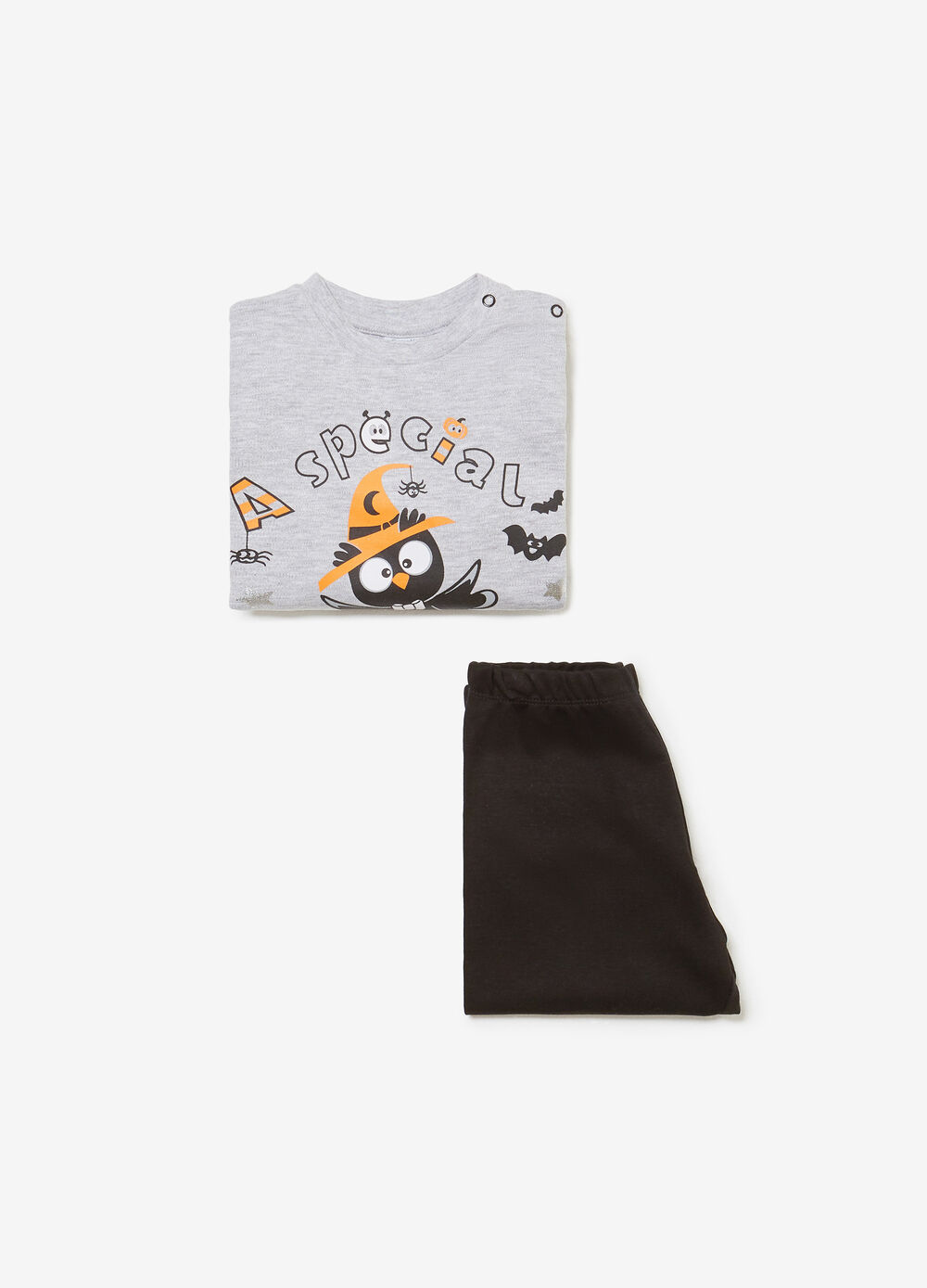 Organic cotton pyjamas with lettering and owl