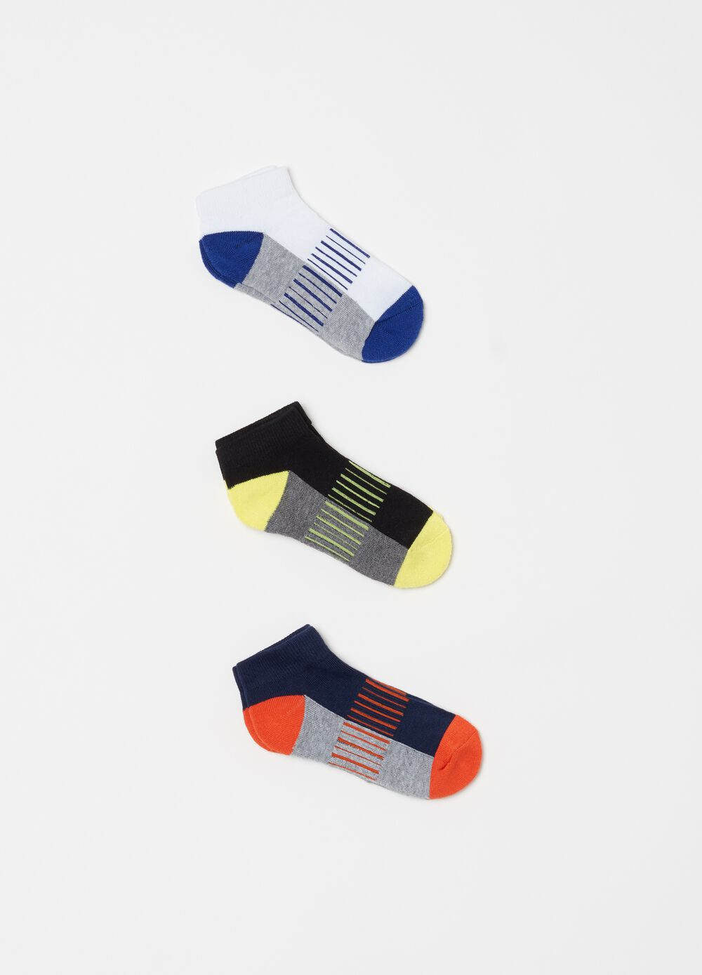 Three-pair pack embroidered and striped socks