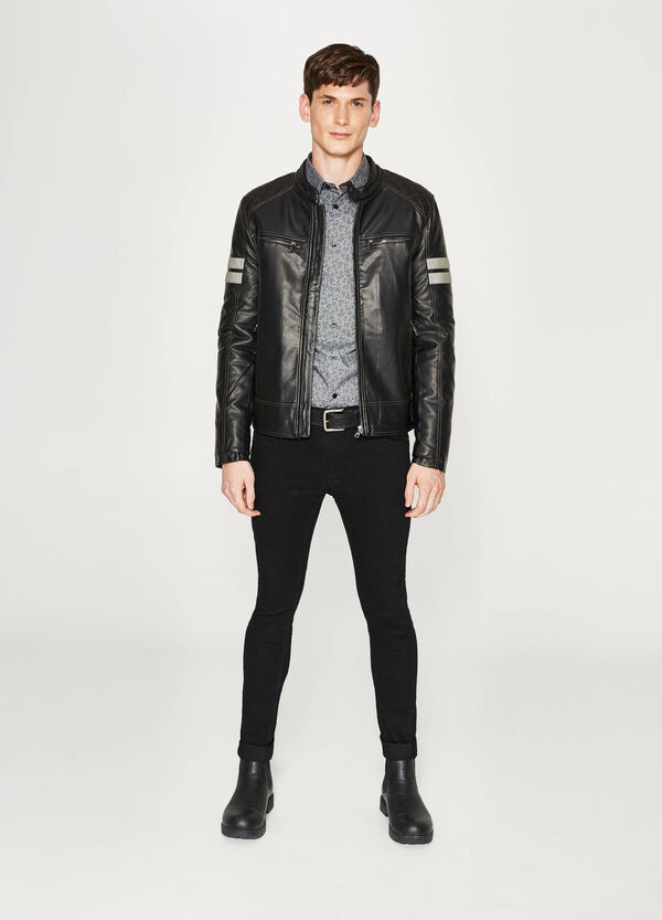 Leather look jacket with inserts | OVS