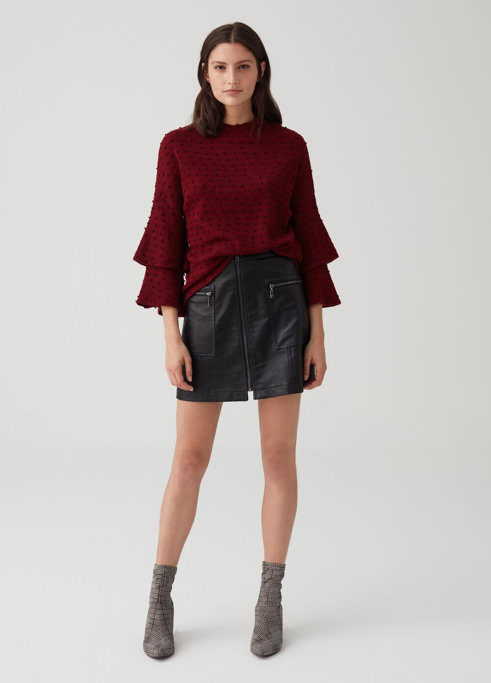 Faux leather mini skirt with pockets and zip
