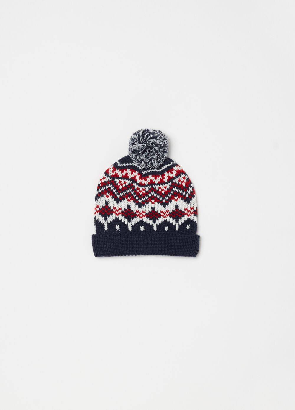 Knitted hat with jacquard weave