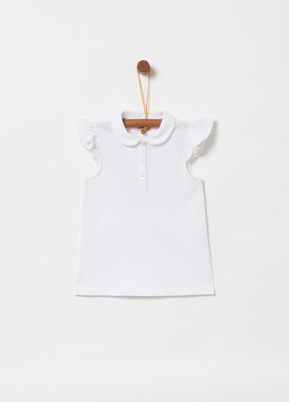 Sleeveless piquet polo shirt with frills