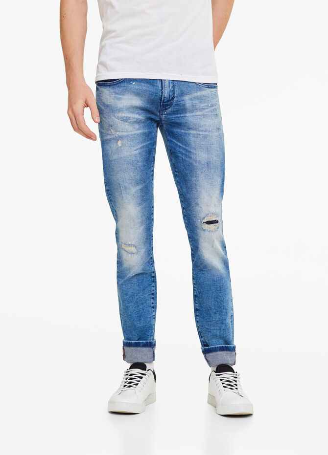 Skinny-fit, worn-effect jeans