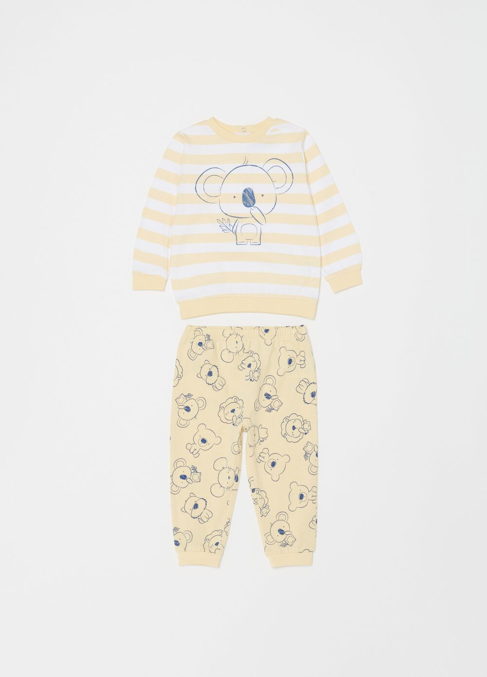 Pyjamas with striped pattern and koala print
