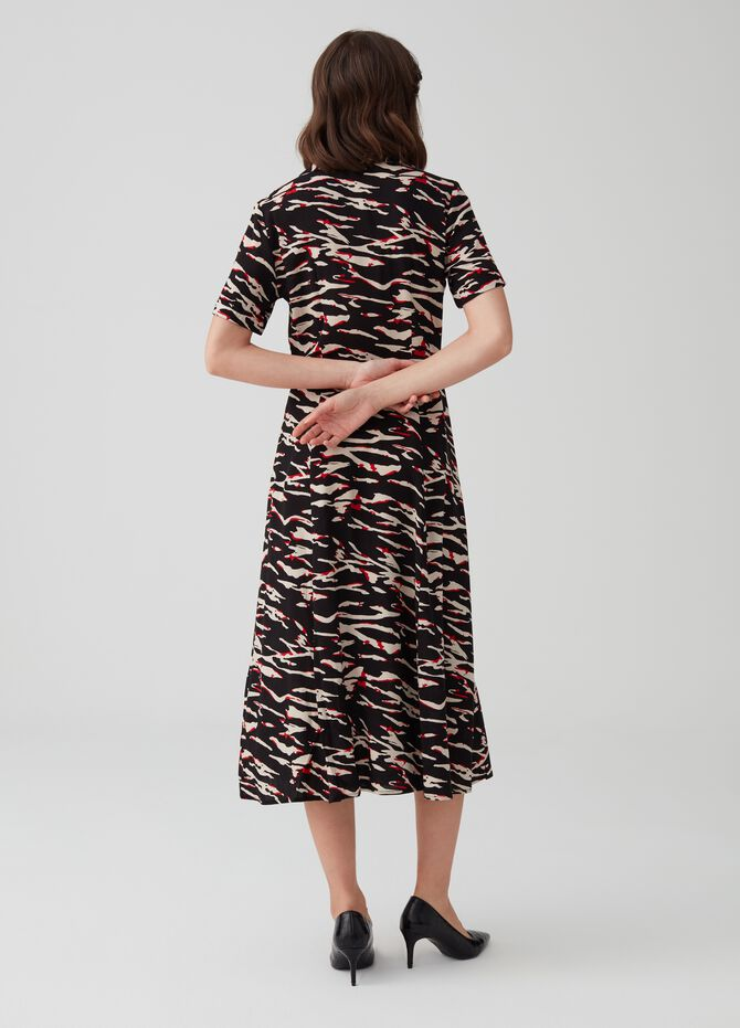 Shirt dress in 100% viscose with print