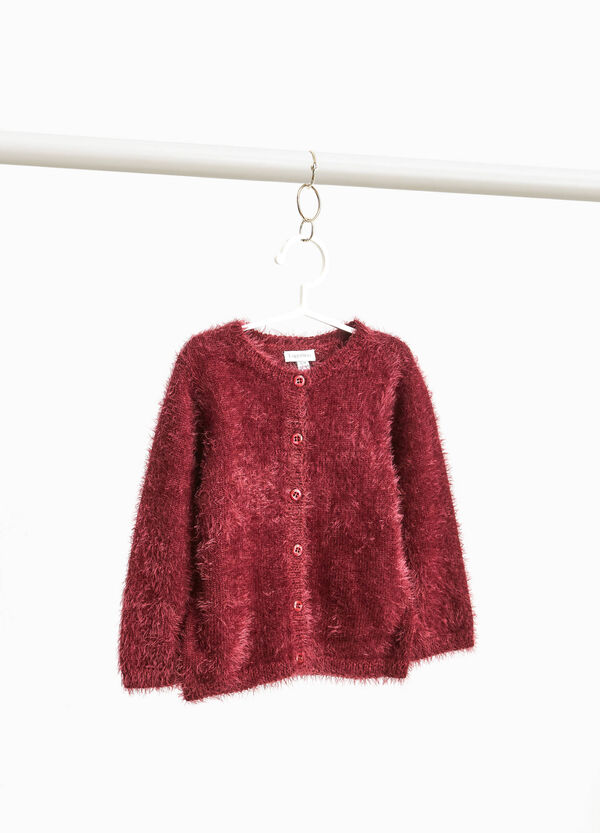 Frayed cardigan with round neck