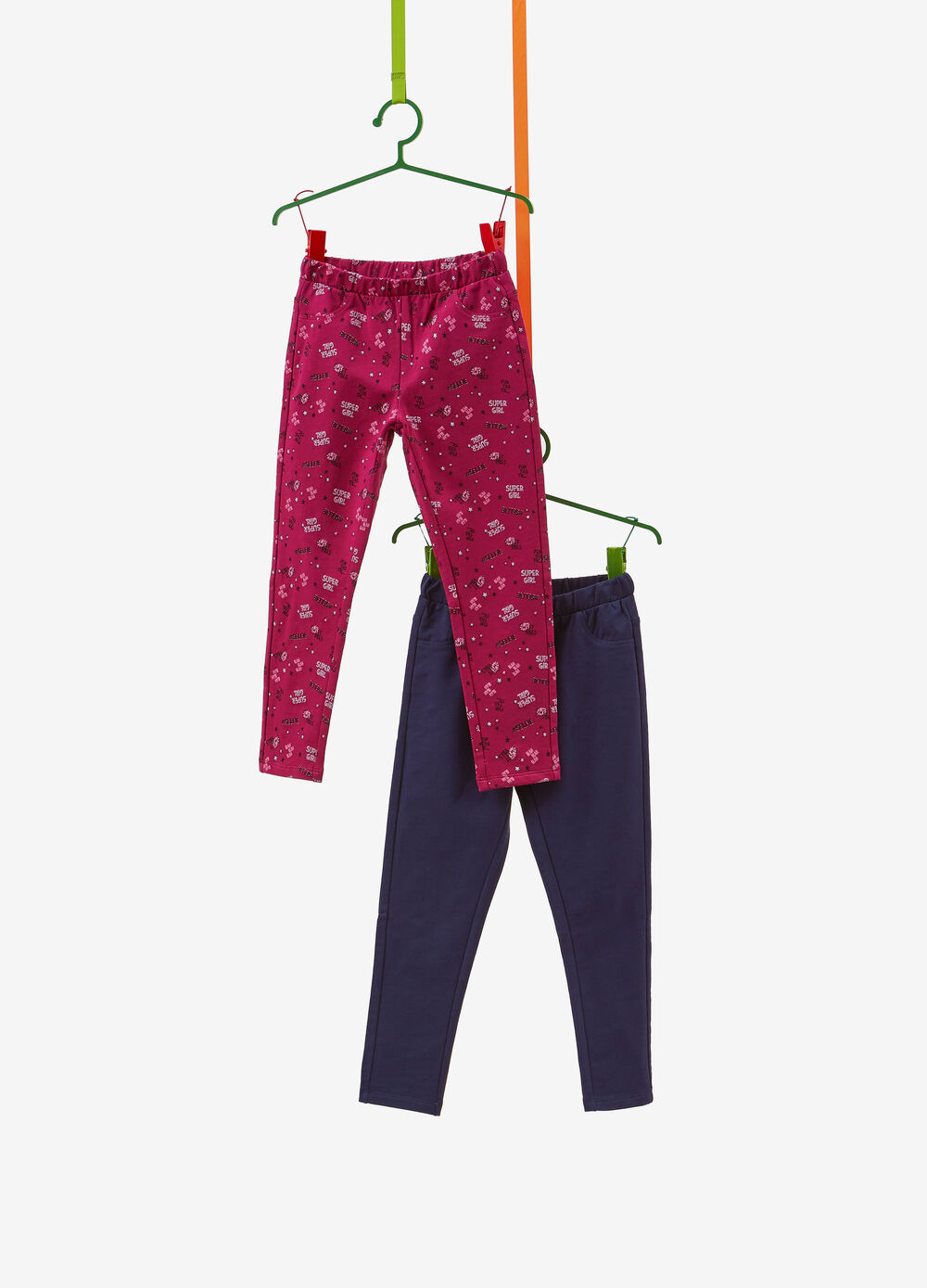 Two-pack cotton jeggings with pattern and solid colour