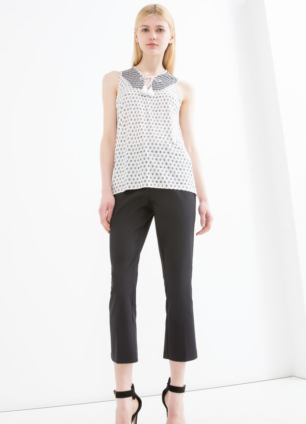 Round neck top with ties and tassels   OVS