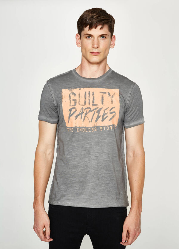 Printed T-shirt with faded seems | OVS