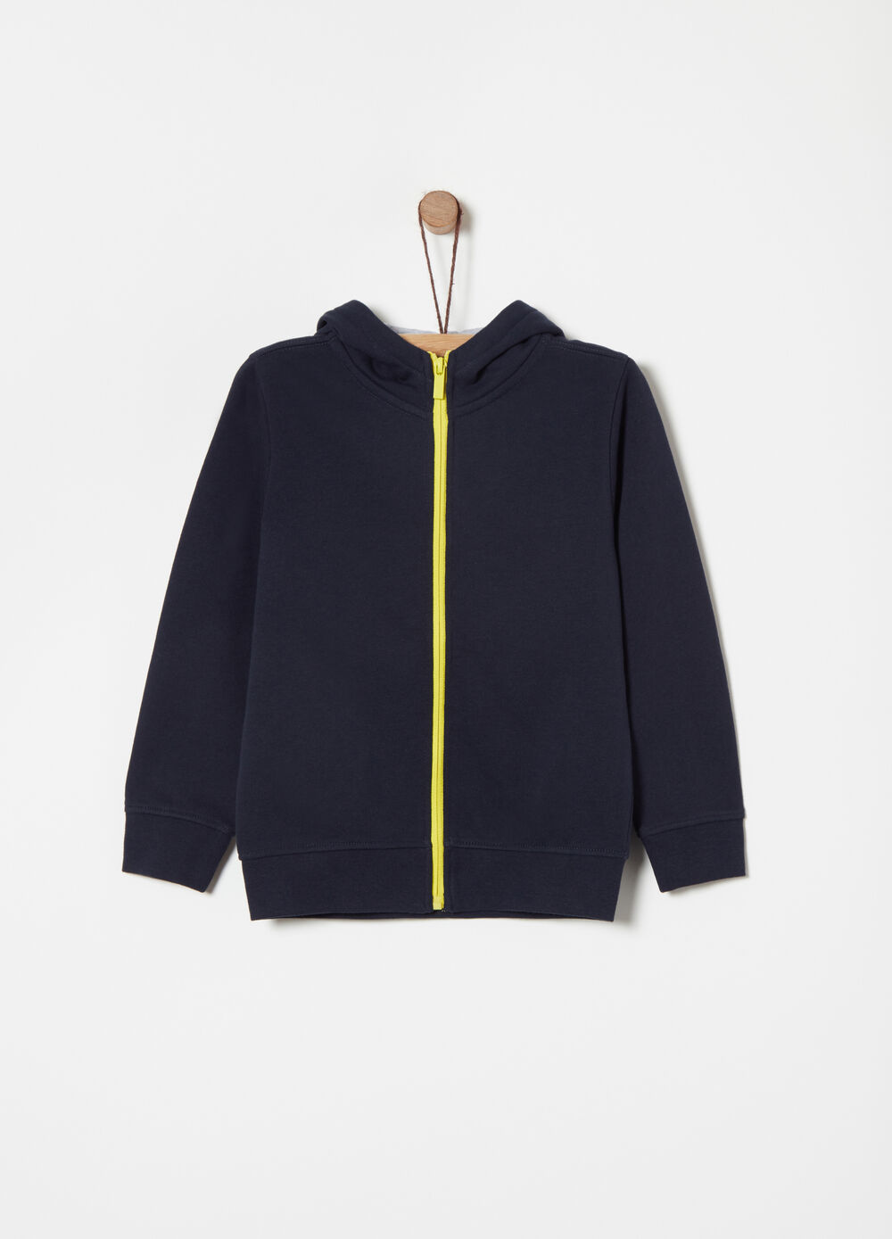 Full-zip sweatshirt in heavy winter fabric with print on the back