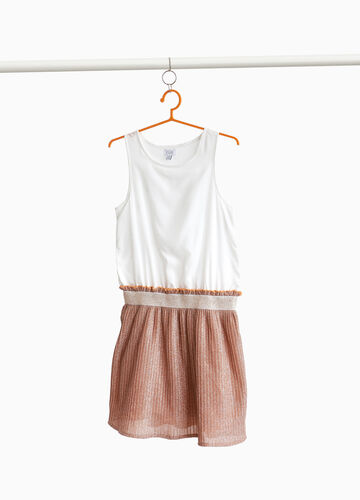 Two-tone pleated dress with glitter