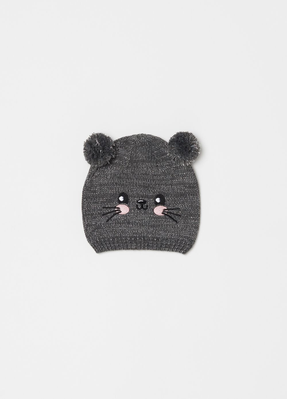 Hat with pompom and kitted embroidery