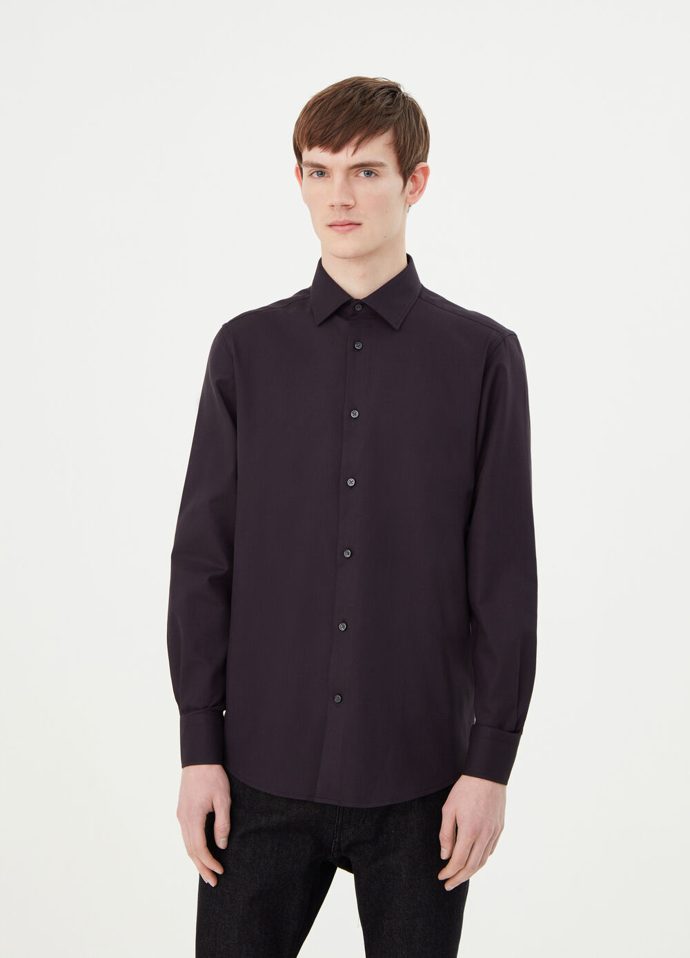 Regular-fit charmeuse-weave shirt