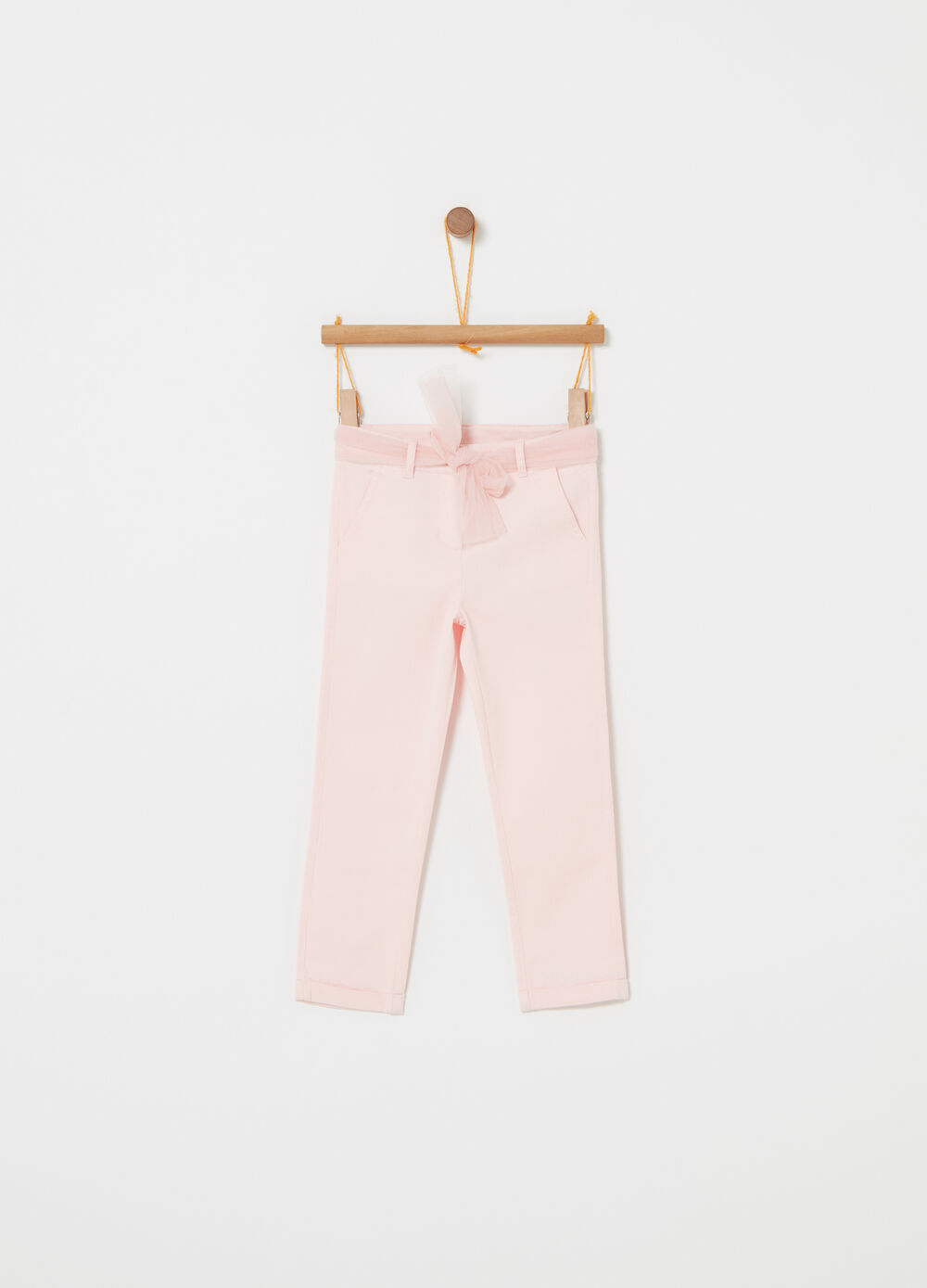 Trousers with tulle belt and pockets