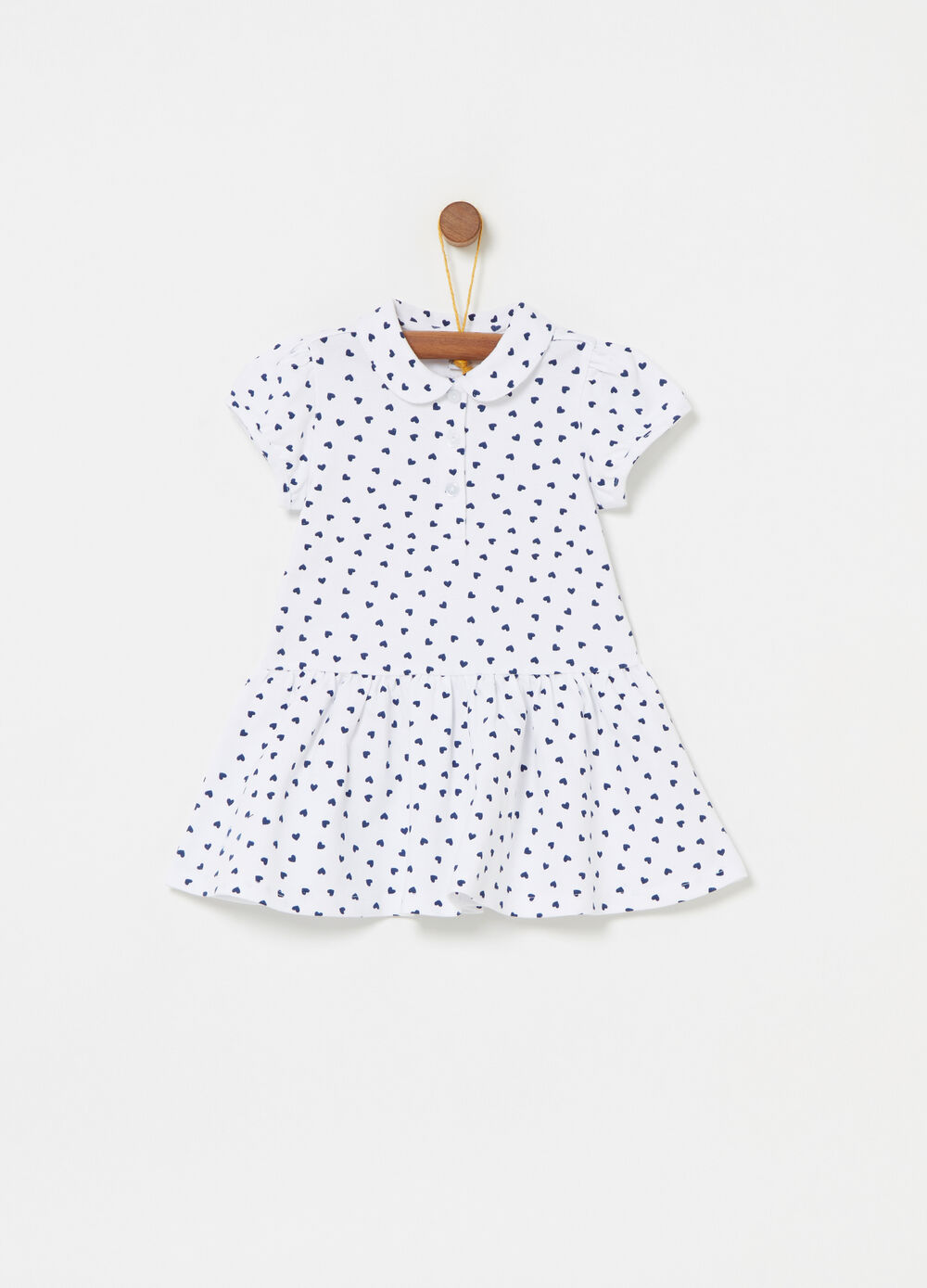 Dress with flounced skirt and hearts