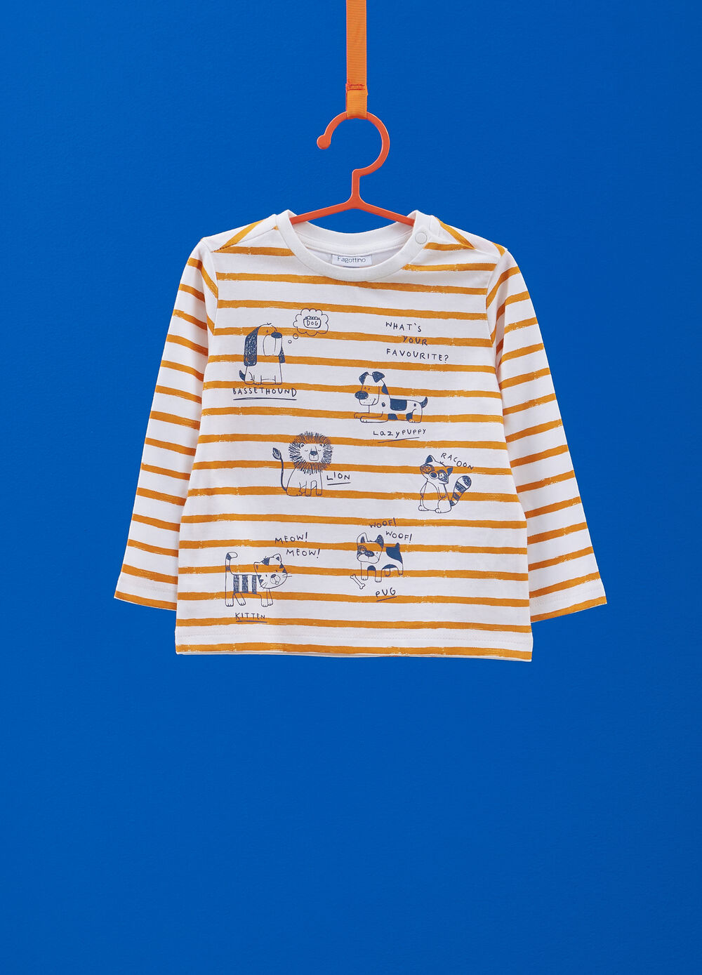 T-shirt with print, stripes and long sleeves