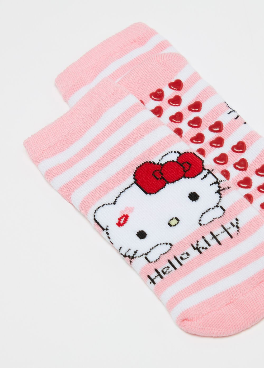 Hello Kitty striped slipper socks