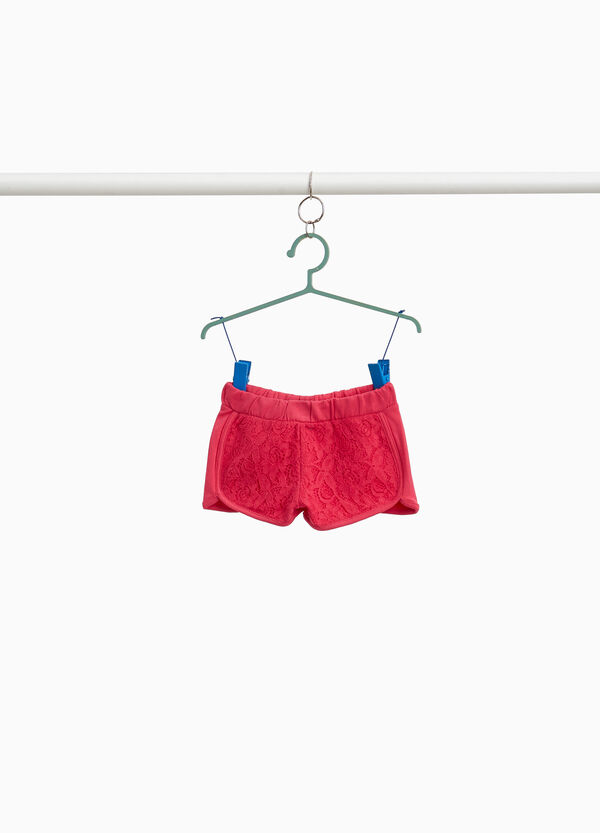 Stretch cotton shorts with lace