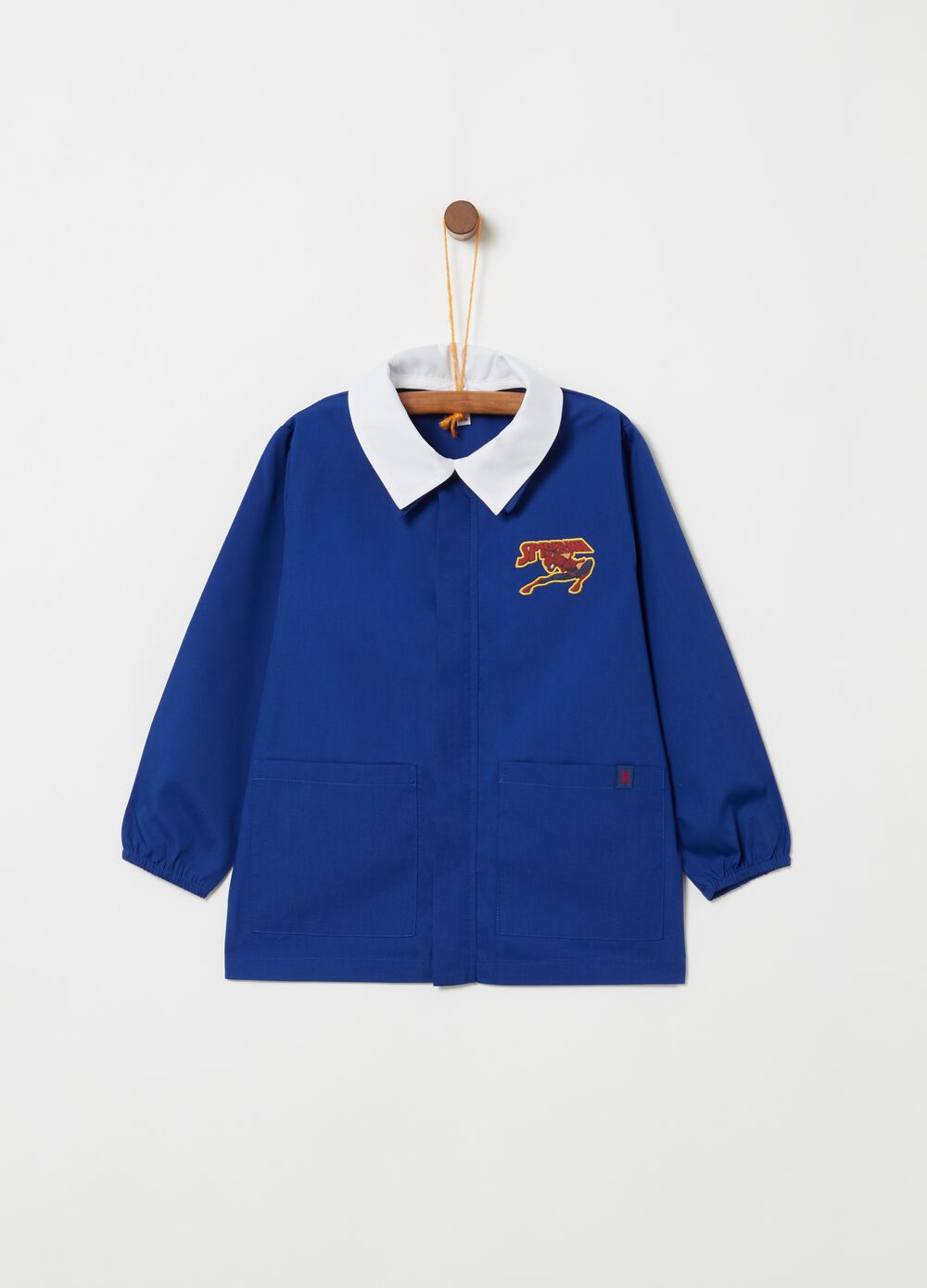 School smock with Spiderman embroidery and pockets