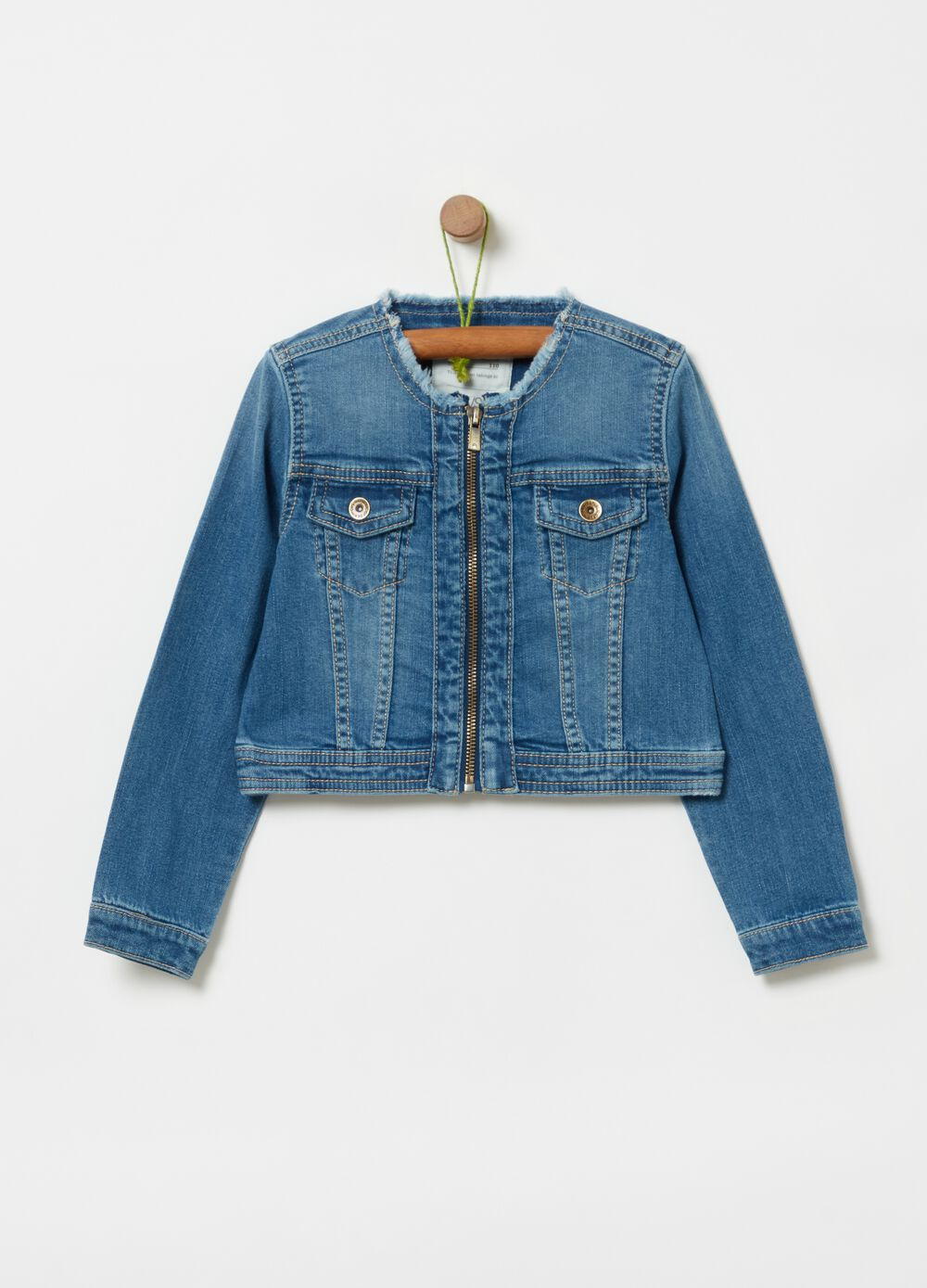 Stretch denim jacket with zip