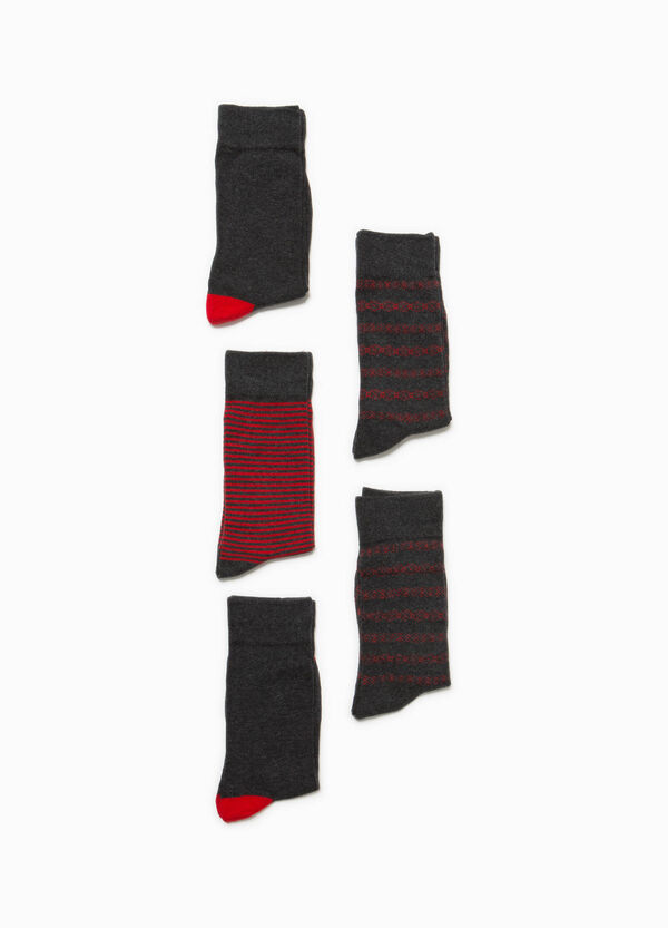 Two-pair pack solid colour and striped short socks