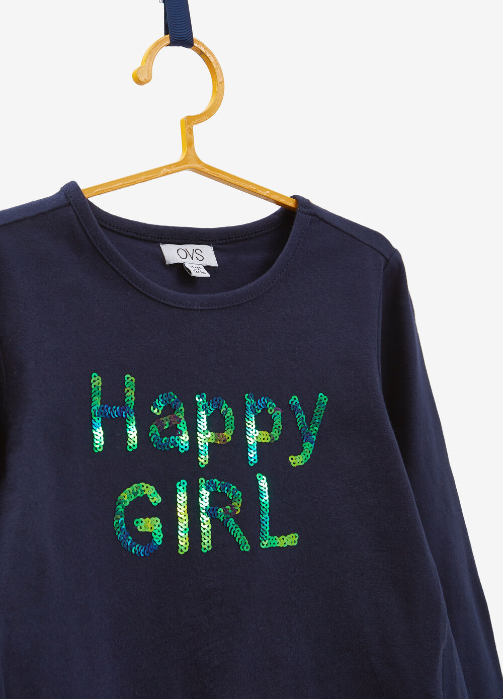 Stretch cotton T-shirt with sequins