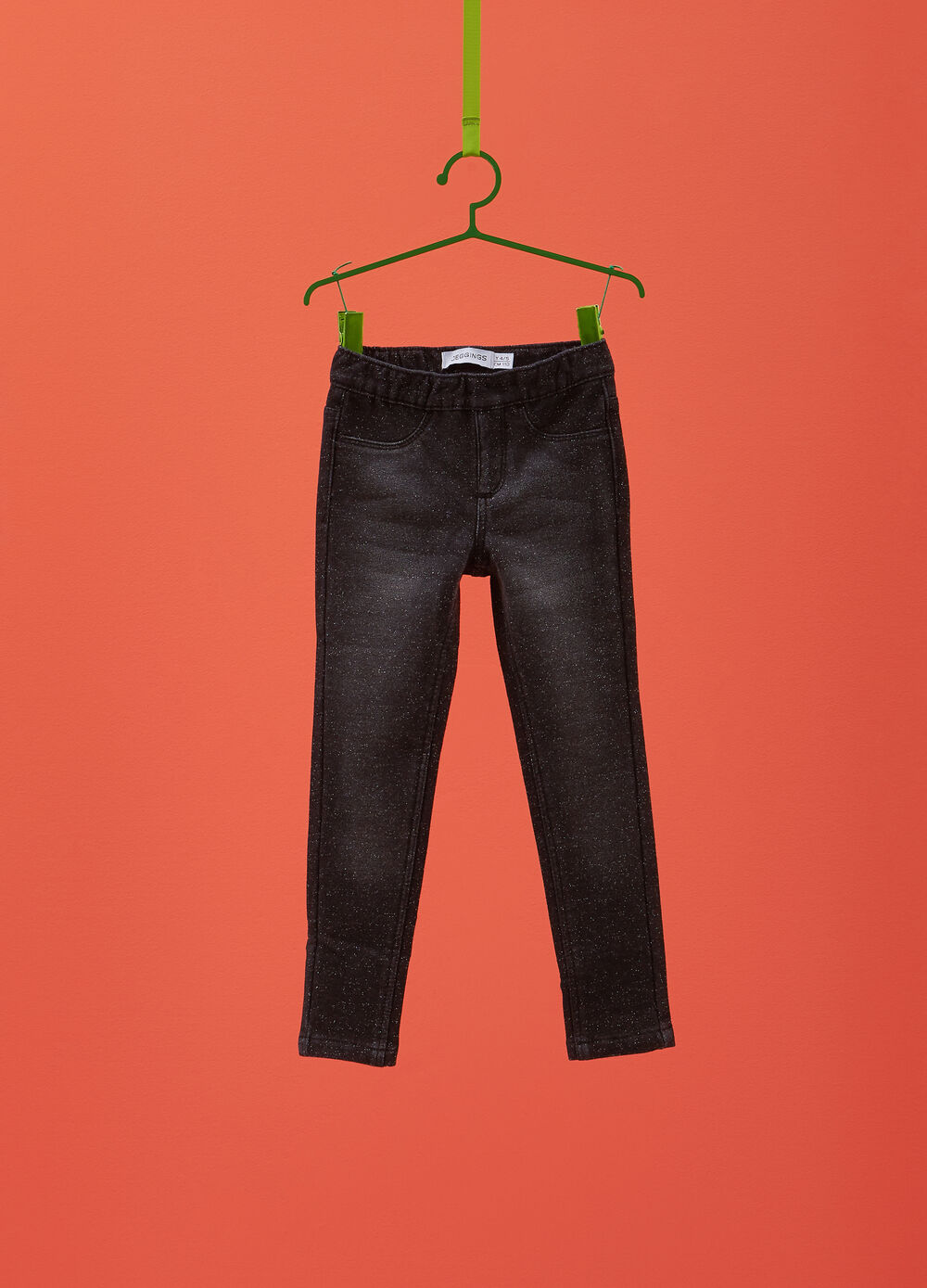 Stretch worn jeans-fit jeggings with lurex