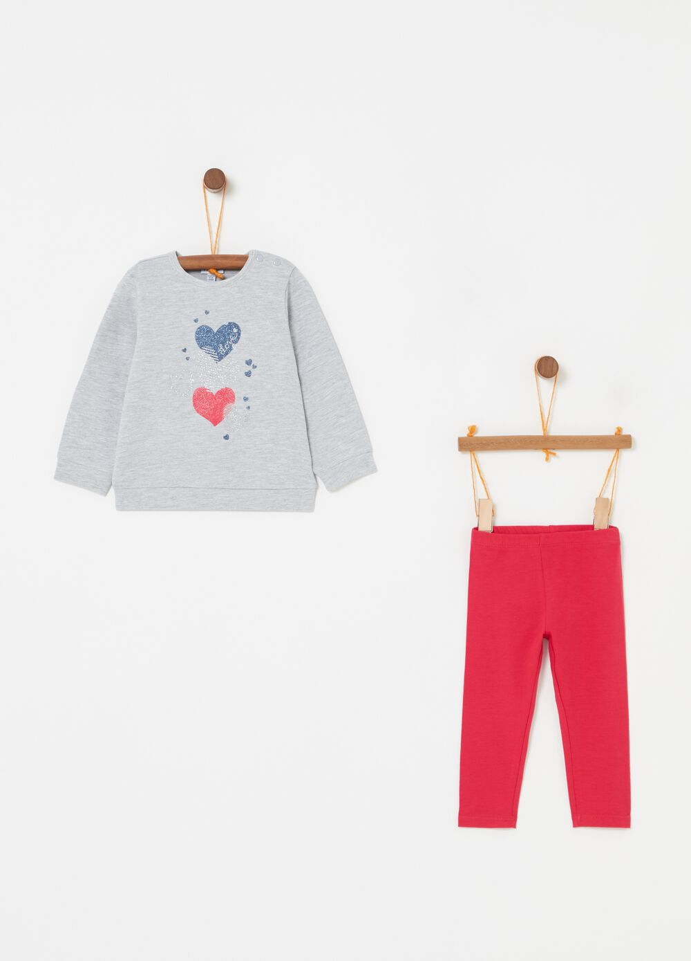 Jogging set with glitter hearts print