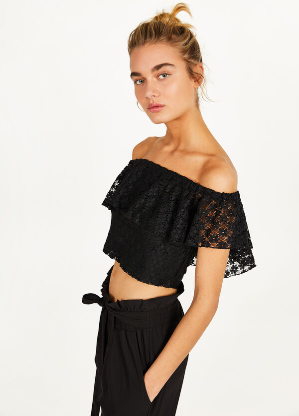 T-shirt crop in pizzo stretch