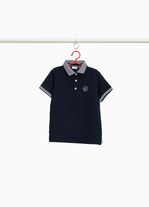 100% cotton polo shirt with striped collar