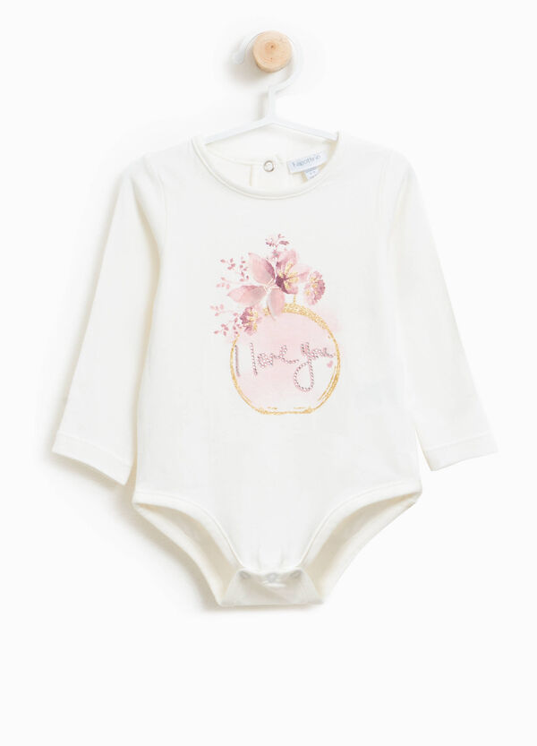 Stretch cotton bodysuit with print and diamantés