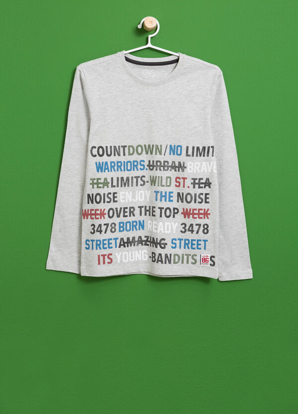 Cotton and viscose T-shirt with printed lettering | OVS