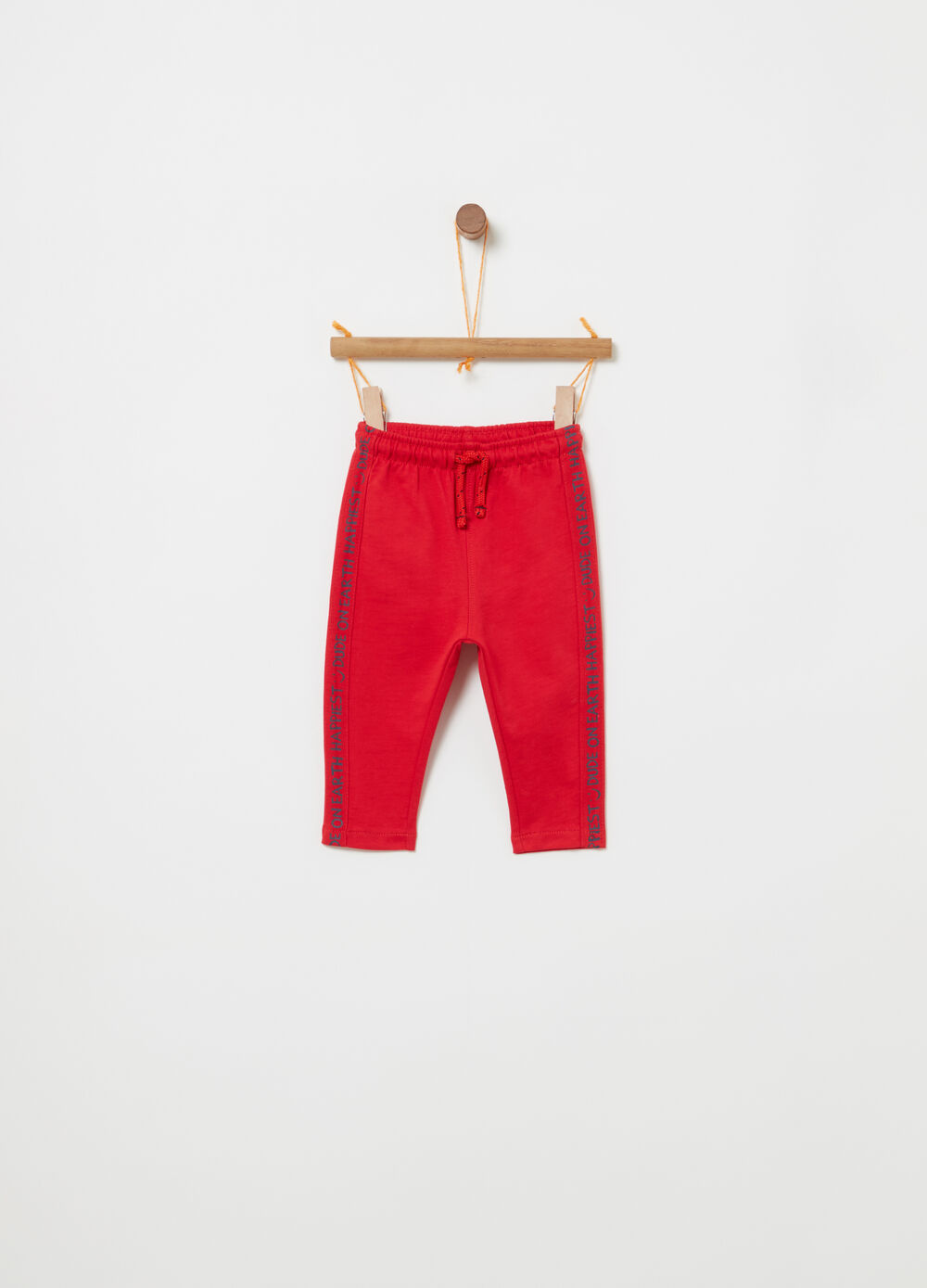 Trousers with drawstring and lettering bands