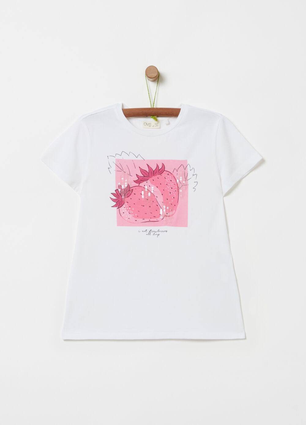 T-shirt with strawberry print and sequins