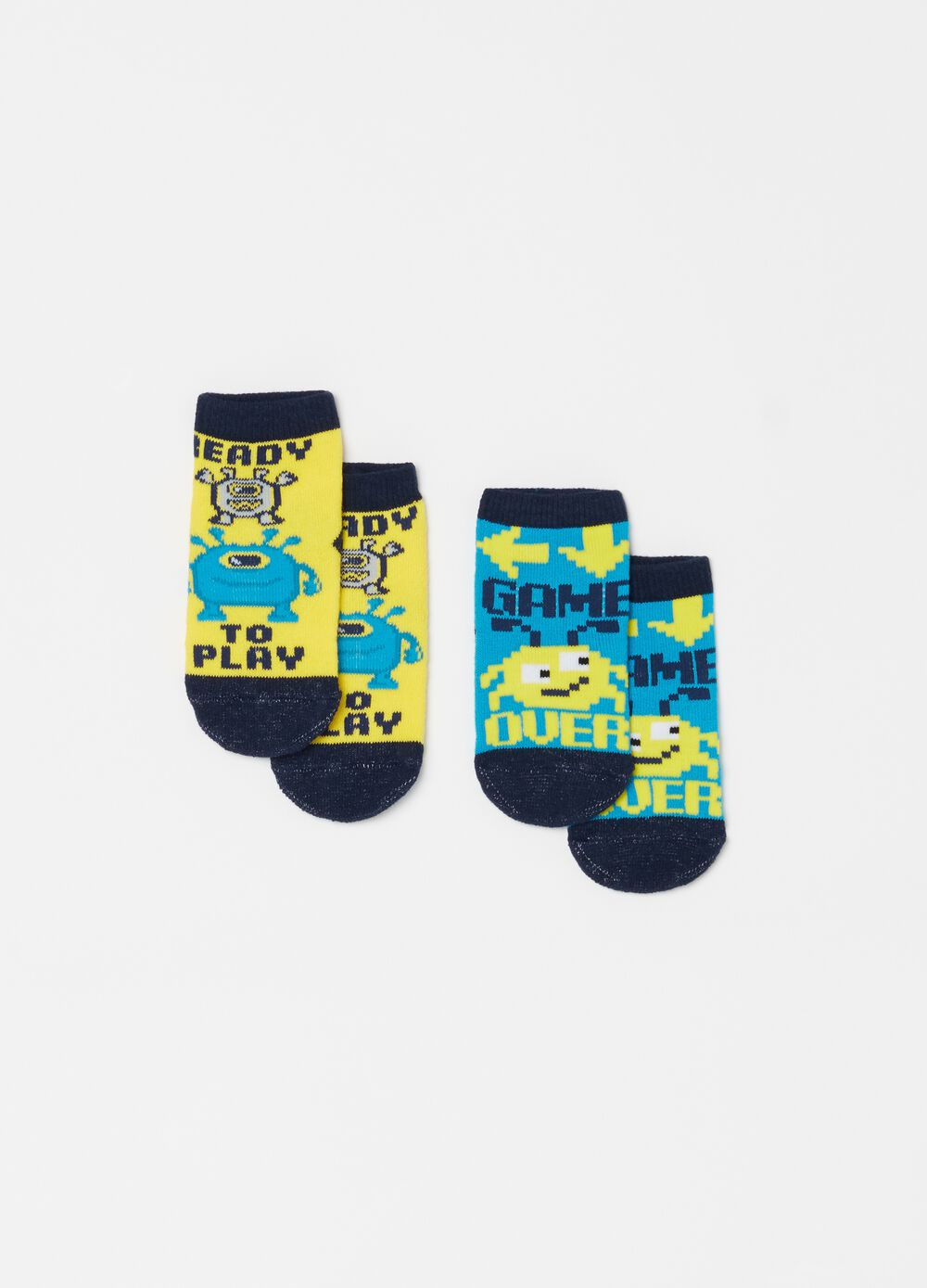 Two-pair pack socks with monster embroidery