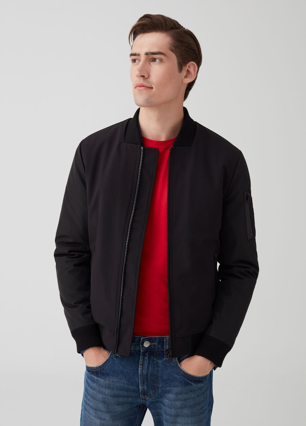 Solid colour bomber jacket with ribbing