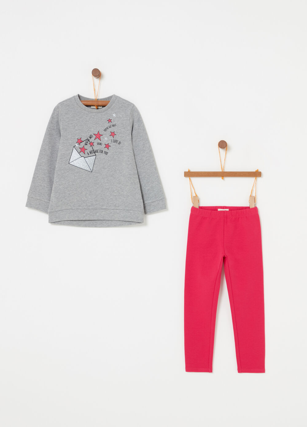 Jogging set with glitter pouch print