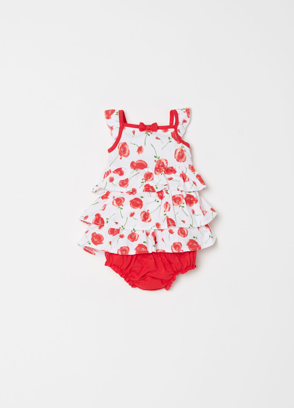 Dress set with floral flounces and briefs
