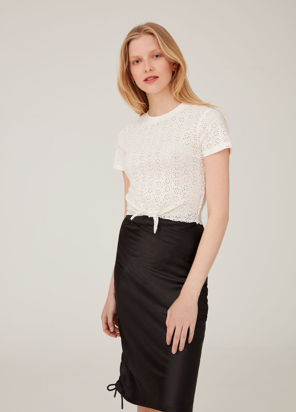 Cotton crop T-shirt with openwork weave