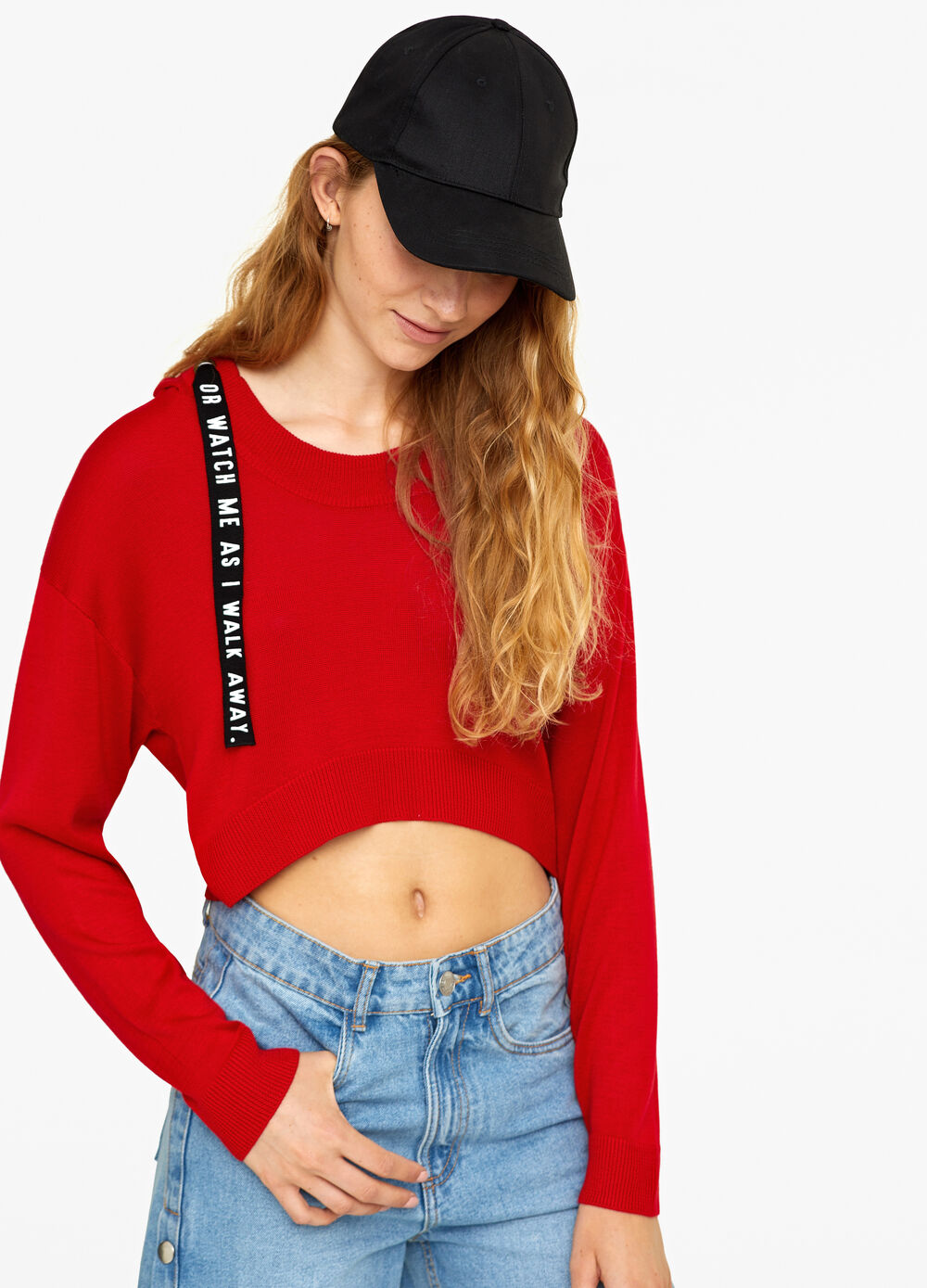 Crop pullover with hood