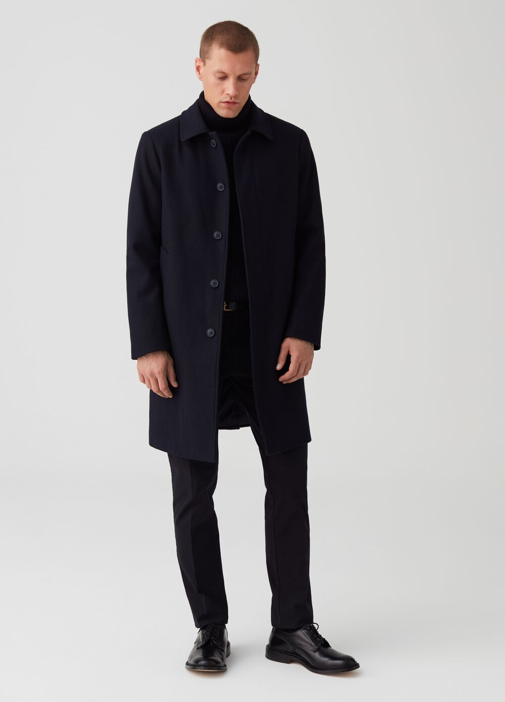 Solid colour cloth coat with pockets