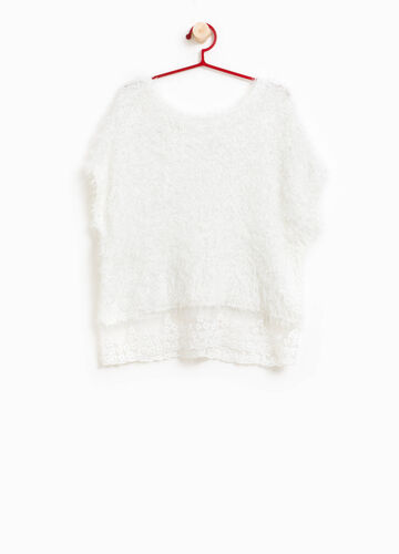 Knitted and frayed pullover with lurex